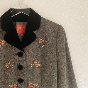 VINTAGE KENZO embroidered floral velvet blazer S 4